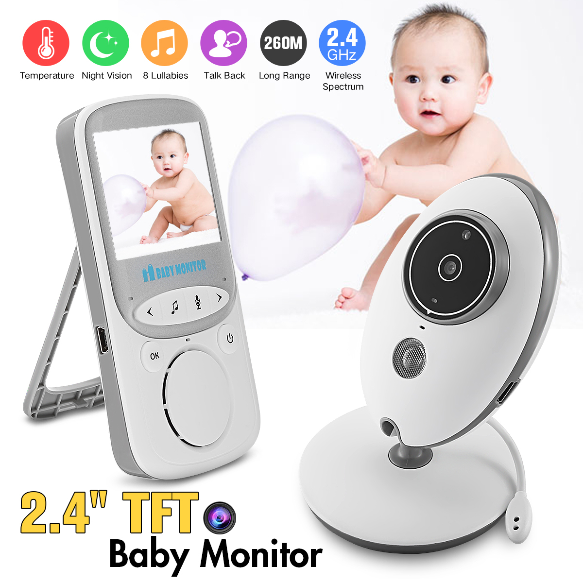 Wireless Baby Monitor 2.4GHz Color LCD Audio Talk Night Vision Digital Video Temperature Music Player Baby Healthy Safe Security help your baby talk