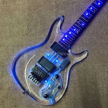 The new style of LED light album electric guitar with acrylic body, real guitar photos, free shipping