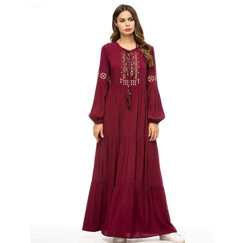 Платья женские 2019 свободные русские народное платье цветочный принт индонезийская одежда женское с длинным рукавом красное вино исламское платье TA1627