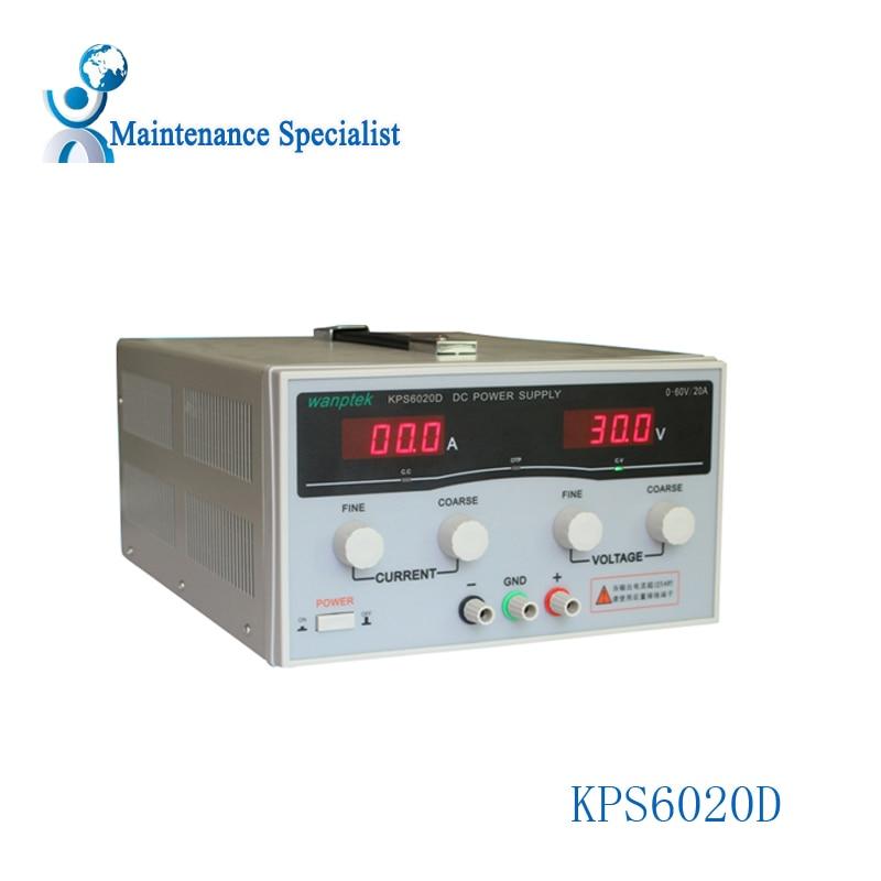 KPS6020D High precision High Power Adjustable LED Dual Display Switching DC power supply 220V EU 60V/20A kps6010d high precision high power adjustable led dual display switching dc power supply 220v eu 60v 10a