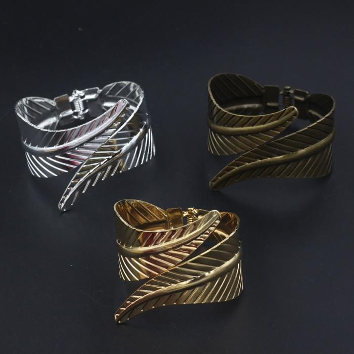 1 PCS Fashion Metal Iron 3 Colors Plated Feather Cuff Bangle Adjustable Women's Bangle Bracelets