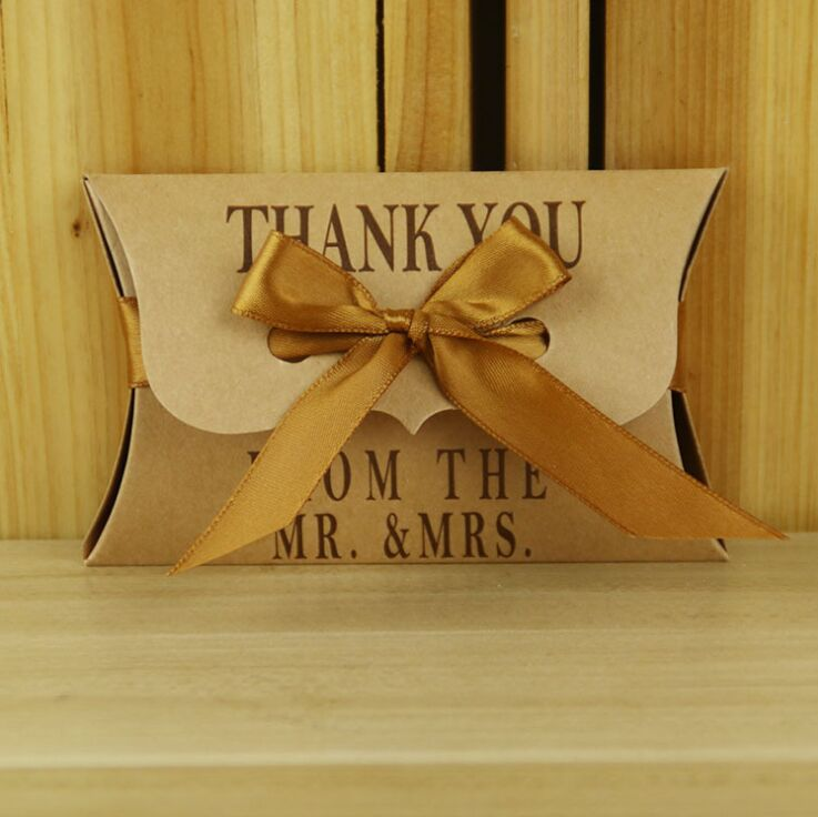 Gold Pillow Favor Boxes : Mr mrs rustic wedding gift boxes pcs lot new style gold