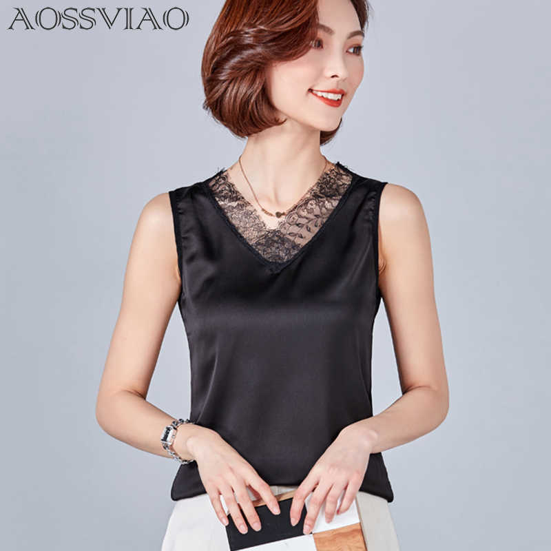Women Blouses Summer 2019 Casual Silk Blouse Button Slim Sleeveless Blusas Feminina Tops Sexy O-Neck Black Shirts Plus Size