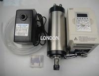 ER16 średnica 80mm 220 V chłodzenie wodne 1.5KW wrzeciona z 4 części łożyska do cncmachine + 1.5KW VFD + pompa wody + rura wody + bity w Wrzeciono obrabiarki od Narzędzia na