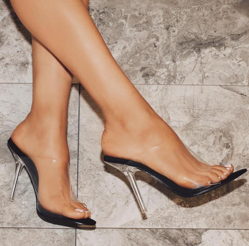 Moda Peep Toe Sandálias de Salto Alto Mulheres Limpar Transparente PVC Cristal Sandálias Deslizamento Em Sapatas de Vestido de Verão - 6
