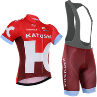2016 Katusha Cycling Jersey Team Cycling Clothing Quick Dry Cycling Bibs Set With Gel Pad Cycling