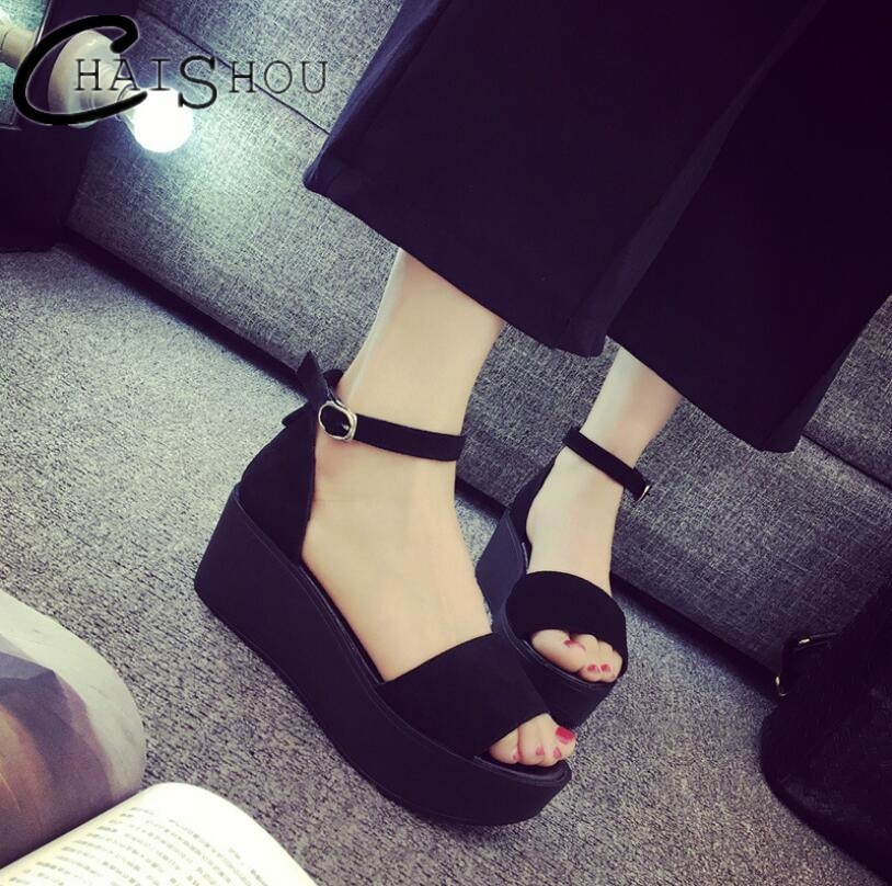 Wedges Women Sandals Fashion Casual Sandals Women Platform Thick bottom high heel Sandals For Lady Fish mouth student shoes U231 students female sandals fashion 2017 fish mouth shoes denim girl with thick bottom wedges sponge soles casual and comfortable