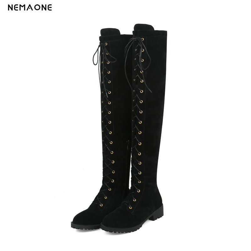 NEMAONE low heels women shoes woman lace up over the knee boots autumn winter ladies boots black red gray yellow large size 43 nemaone fashion women s lace up knee high boots lady autumn winter high heels shoes woman platform yellow black white high boots