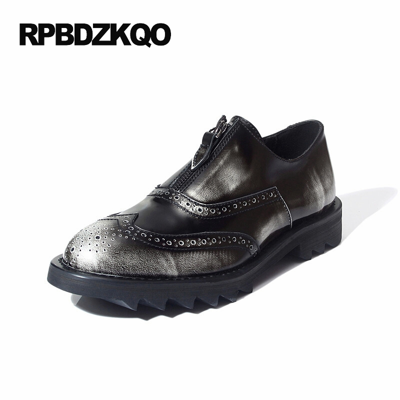 Zipper Loafers Brogue High Quality Wingtip Platform Oxfords Shoes Men Casual Leather Real New Silver Patent Hot Sale AutumnZipper Loafers Brogue High Quality Wingtip Platform Oxfords Shoes Men Casual Leather Real New Silver Patent Hot Sale Autumn