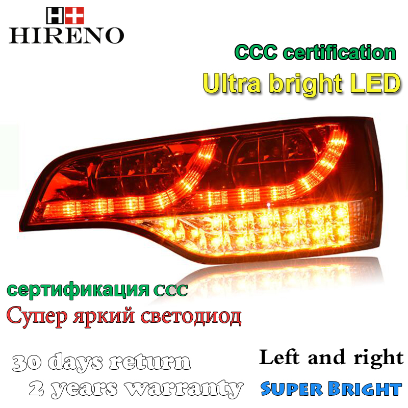 Hireno Car Styling for Audi Q7 2006 2007 2008 2009 2010 2011 Tail Lights LED TailLight LED Rear Lamp +Brake+Park+Signal car rear trunk security shield cargo cover for jeep compass 2007 2008 2009 2010 2011 high qualit auto accessories