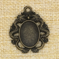 Dragon Oval Cabochon Base 40*30mm 25*18mm 18*13mm Antique Bronze Cameo Settings Jewelry Making Handmade Craft