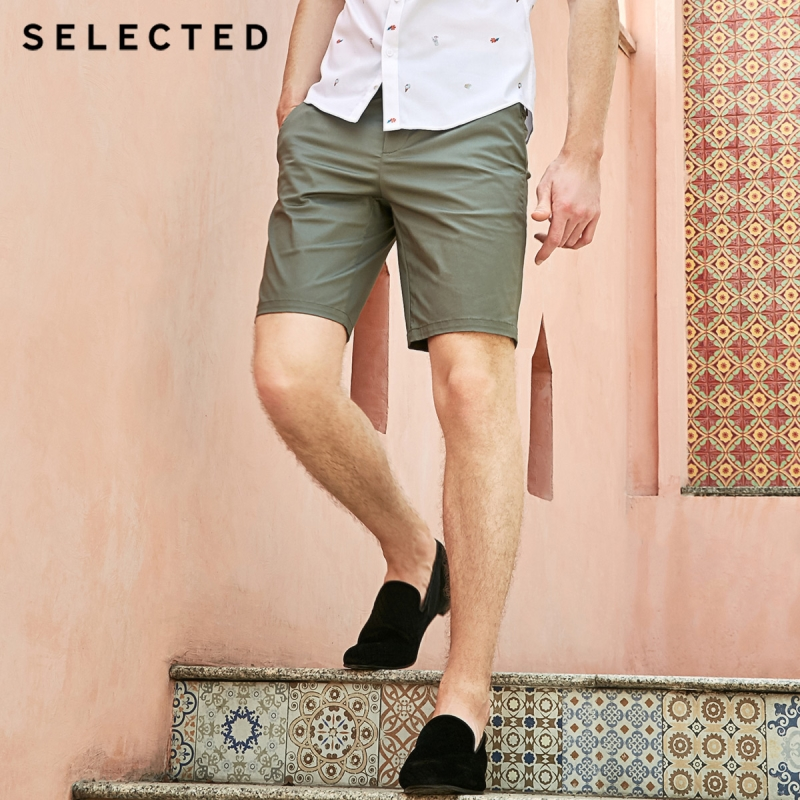 SELECTED Men's Summer Regular Fit Pure Color Straight Casual Cotton Shorts S|4192SH534