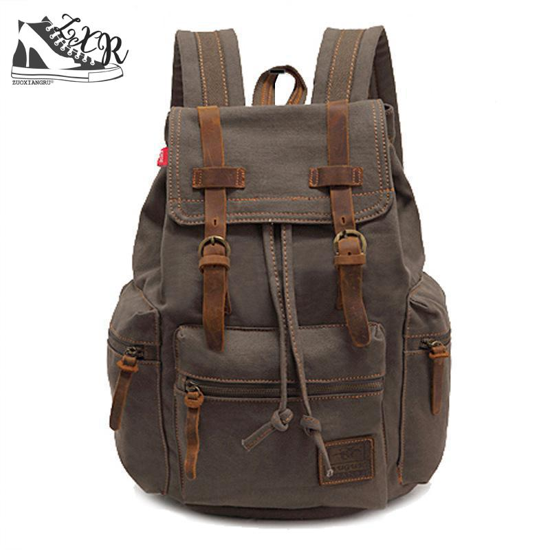 Zuoxiangru Vintage Canvas Women/men Backpack Army Style Notebook Men Rucksack Military 15inch Laptop School Backpacks Women zuoxiangru vintage canvas women men backpack army style notebook men rucksack military 15inch laptop school backpacks women