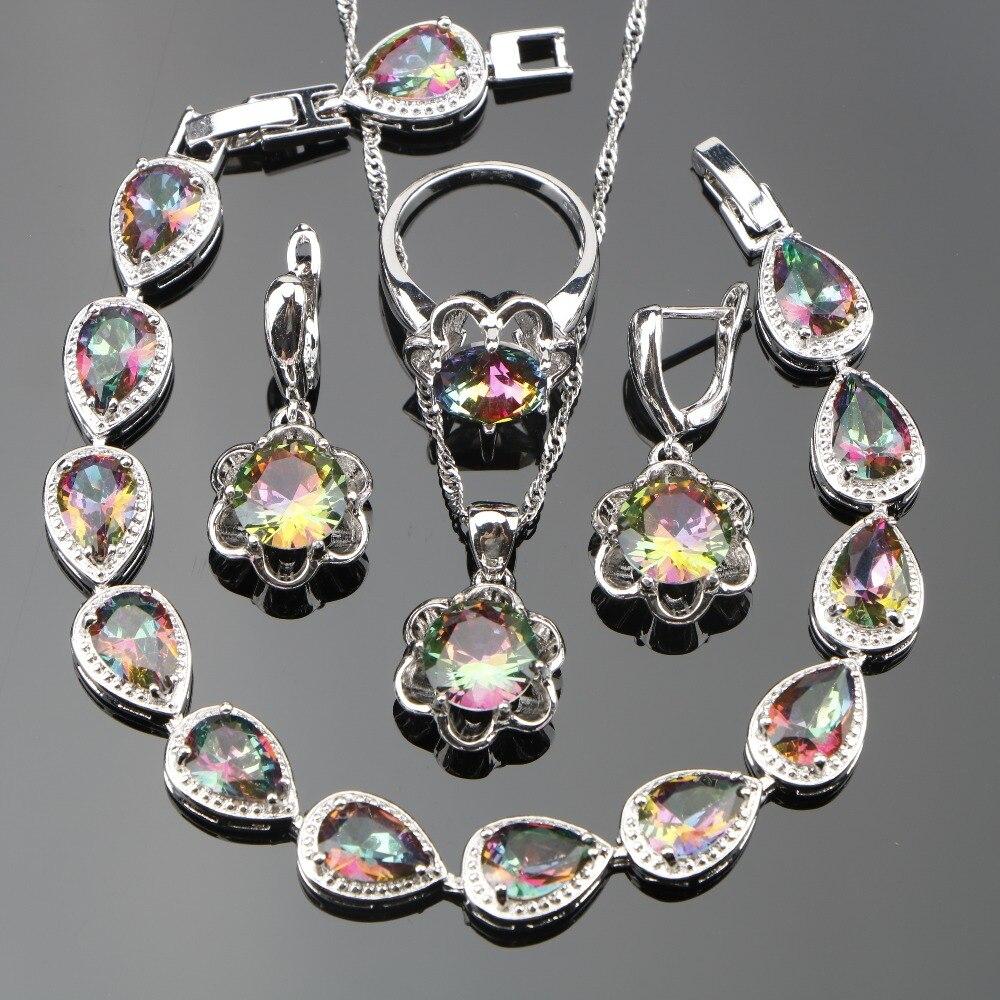 Trendy 925 Sterling Silver Magic Rainbow CZ Jewelry Sets Women Bracelets/Pendant/Necklace Chain/Ring/Earrings Free Box sparkling orange morganite bracelets jewelry sets for women angelic 925 sterling silver earrings ring necklace pendant