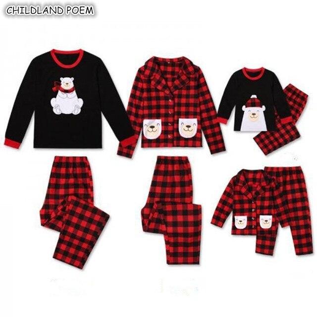 Family Christmas Pajamas Set Family Matchig Sleepwear Bear X-mas Pjs Family  Look Mother Daughter Father Kids Nightwear Clothes 010d480c7