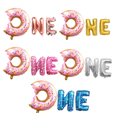 3pcs/set New Donut ONE Grow Up Foil Balloons Baby Shower Sweet One Boy/Girl 1st Birthday Party Decoration