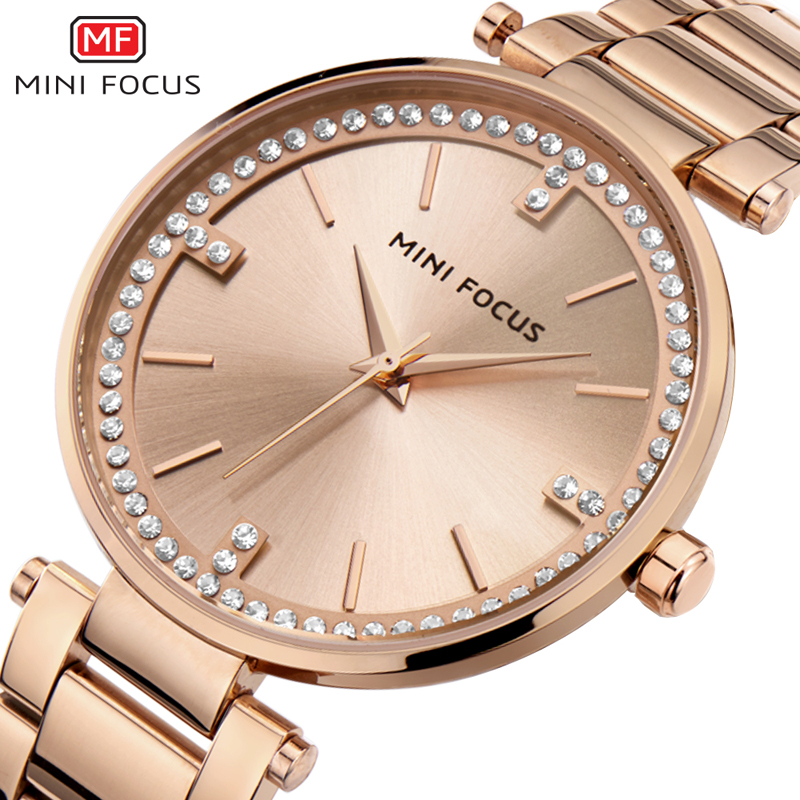 MINI FOCUS Luxury Quartz Women Watches Bracelet Watch Ladies Ultra Thin Dress Rhinestone Diamonds Rose Gold Watch Montre Femme