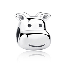 Fit Pandora Bracelet Necklace 100% 925 Sterling Silver Cattle Charm Beads DIY Animal Jewelry Accessories