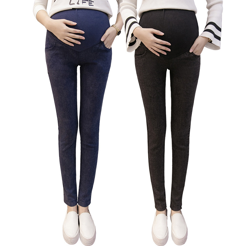 Maternity Waistband Elastic Pants Pregnant Women Clothes Fashion Black Navy Blue Denim Leggings M L XL XXL XXXLJeans Trousers