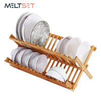 Bamboo Wood Kitchen Folding Shelf Plate Dish Tray Storage Holder Tableware Rack Drainer Double Layer Cutlery Bowl Organizer Home