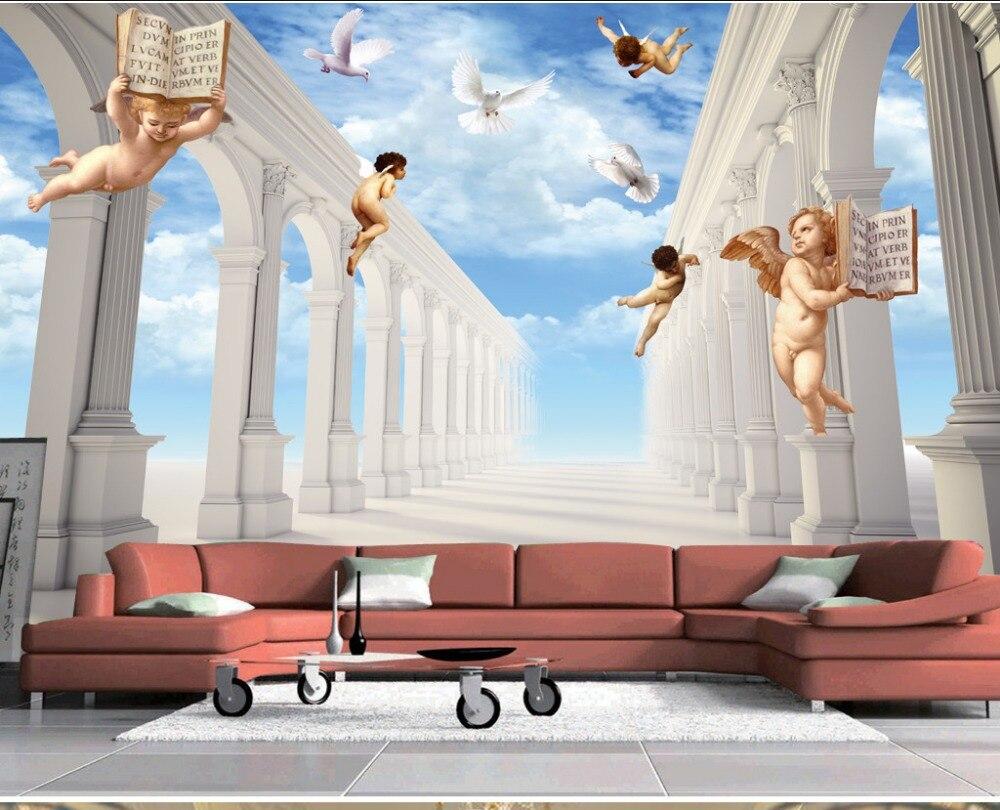 Kustom 3D Lukisan Dinding Wallpaper 3D Eropa Kolom Romawi Cinta Allah Latar Belakang TV Terikat Lukisan