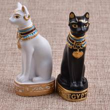 Latest Egyptian Cat Statue Figurine Decoration Vintage Cat Goddess Bastet Statue Garden House High Quality Dropshipping(China)