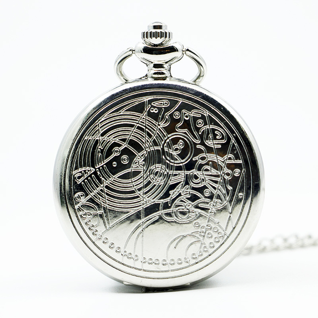Fashion UK Doctor Who Style Vintage Quartz Pocket Watch With Chain Necklace Pendant Best Gift
