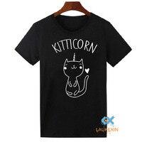 Cute cat kitticorn gatinho engraçado eu amo gatos animais unicórnio t-shirt das mulheres tops camisetas gatos femme camiseta xs-2xl