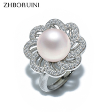 ZHBORUINI 2017 Fashion Pearl Ring Natural Freshwater Pearl Wedding Rings Flower Rings 925 Sterling Silver Jewelry For Women Gift