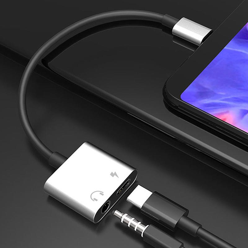 High Quality Type C To 3.5 Mm And Charger 2 In 1 Headphone AUX Audio Jack USB C Cable Adapter