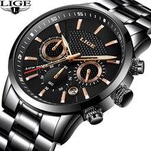 цена на LIGE Watches Men Luxury Brand Chronograph Sport Wristwatch Quartz Watch Man Full steel Business Watch Man Clock Zegarke Meski