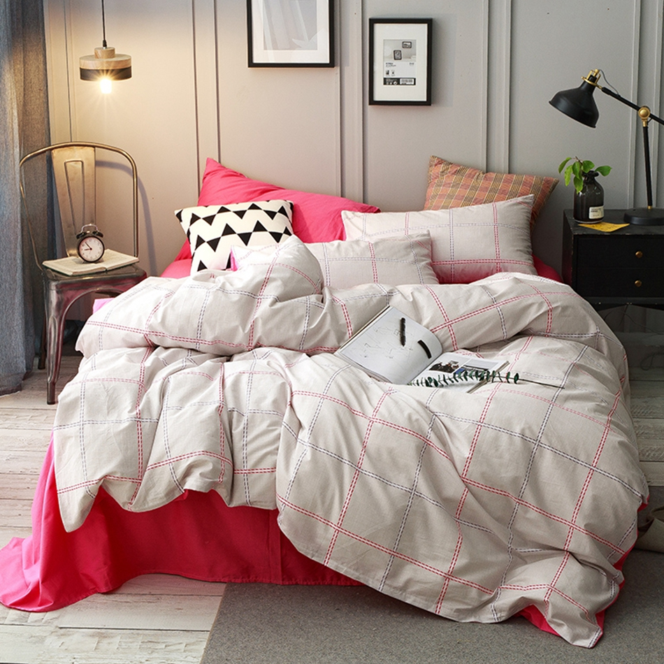 solid color bed sheets plaid bedding set for adults queen king size duvet cover set 100 - Modern Duvet Covers
