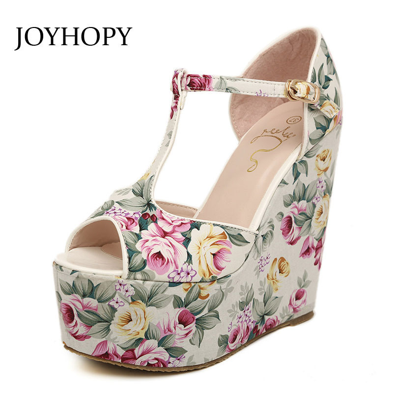 JOYHOPY Summer Wedges Shoes For Women T-Strap High Heels Printing Sandals Ladies Platform Wedges Peep Toe Pumps Plus Size 30- 43 sgesvier european style ankle strap women summer shoes wedges high heels sandals platform causel shoes plus size 34 43 vv431