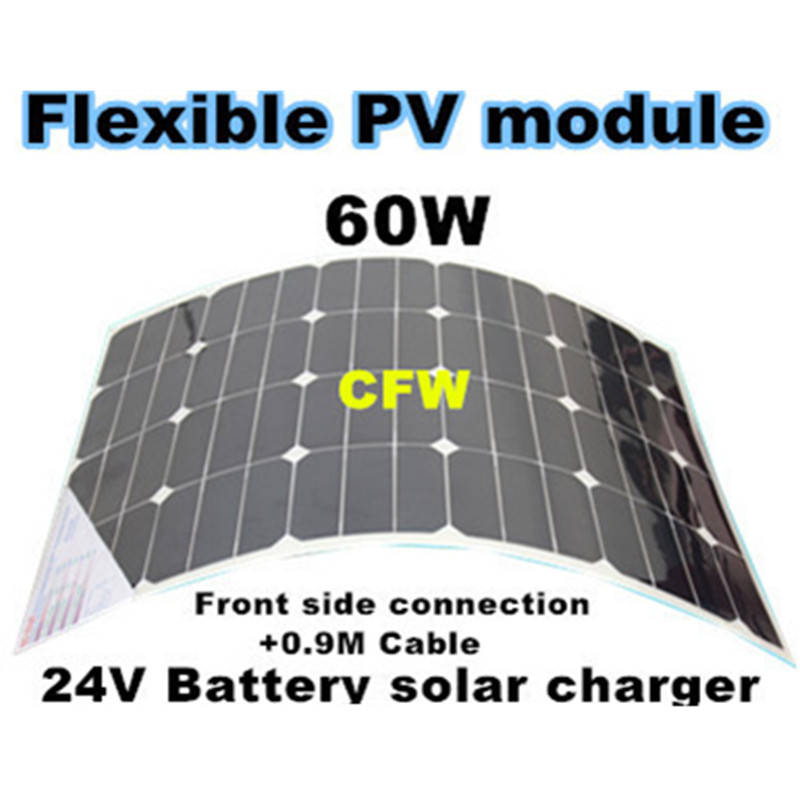 24V battery solar power supply,bendable sunpower solar panel 60W, suit for fishing boat, car, ship battery power charger