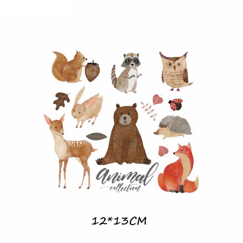 Набор патчей с изображением животных из мультфильмов, милые патчи с изображением единорога, кошки, совы, собаки, цветов для детей, одежда для девочек, футболка, сделай сам, термопресс - Цвет: 358