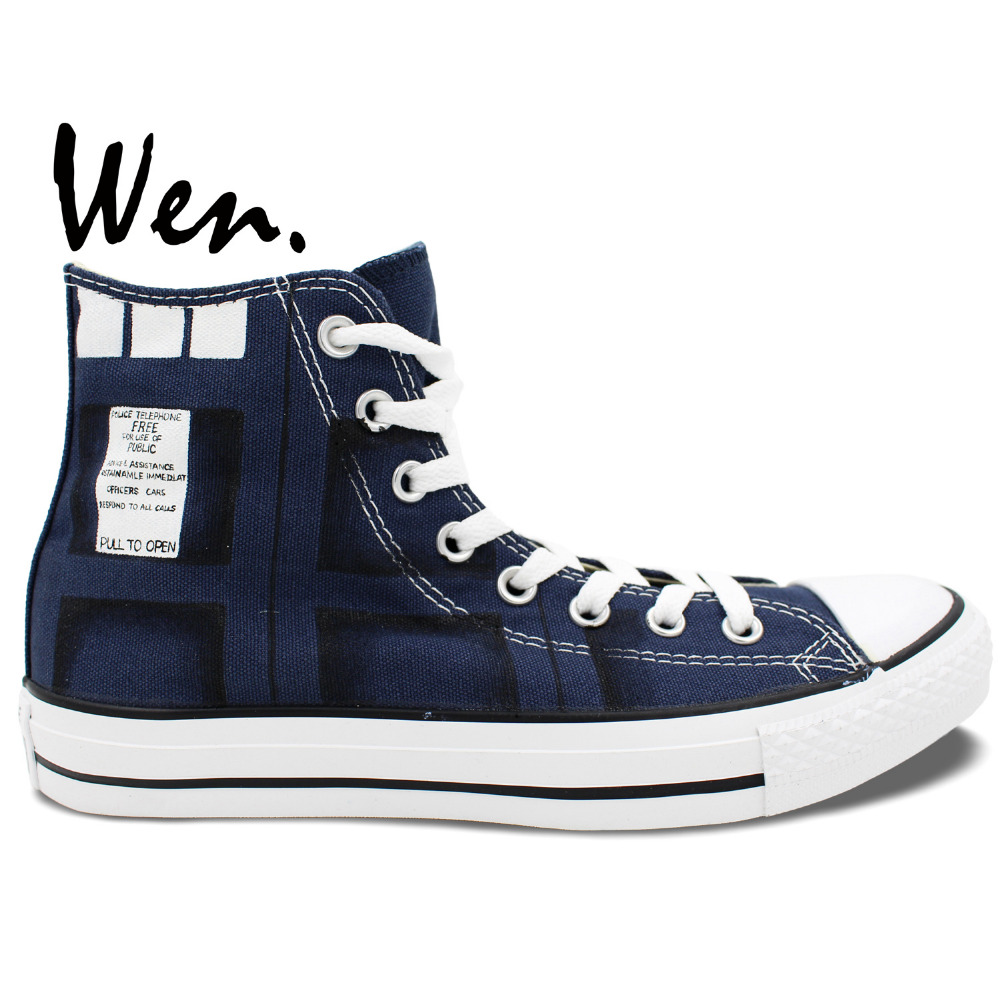 ФОТО Wen Blue Hand Painted Shoes Design Custom Man Woman's Sneakers Tardis Doctor Who High Top Men Women's Canvas Sneakers