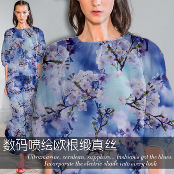 Luxury digital inkjet custom silk organza satin fabric crisp silk fabric for dress chinese silk fabric fabric silk organza