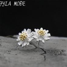 Fyla Mode S925 Pure Silver Earrings Fashion Daisy Flower Stud Earrings For Women Gift Hypoallergenic Jewelry 8mm TYC176