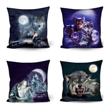 CUSCOV 2019 Moonlight And Wolf Cushion Cover Cotton Linen Cruel wolf Home Decorative Pillow Pillowcase For Car Sofa