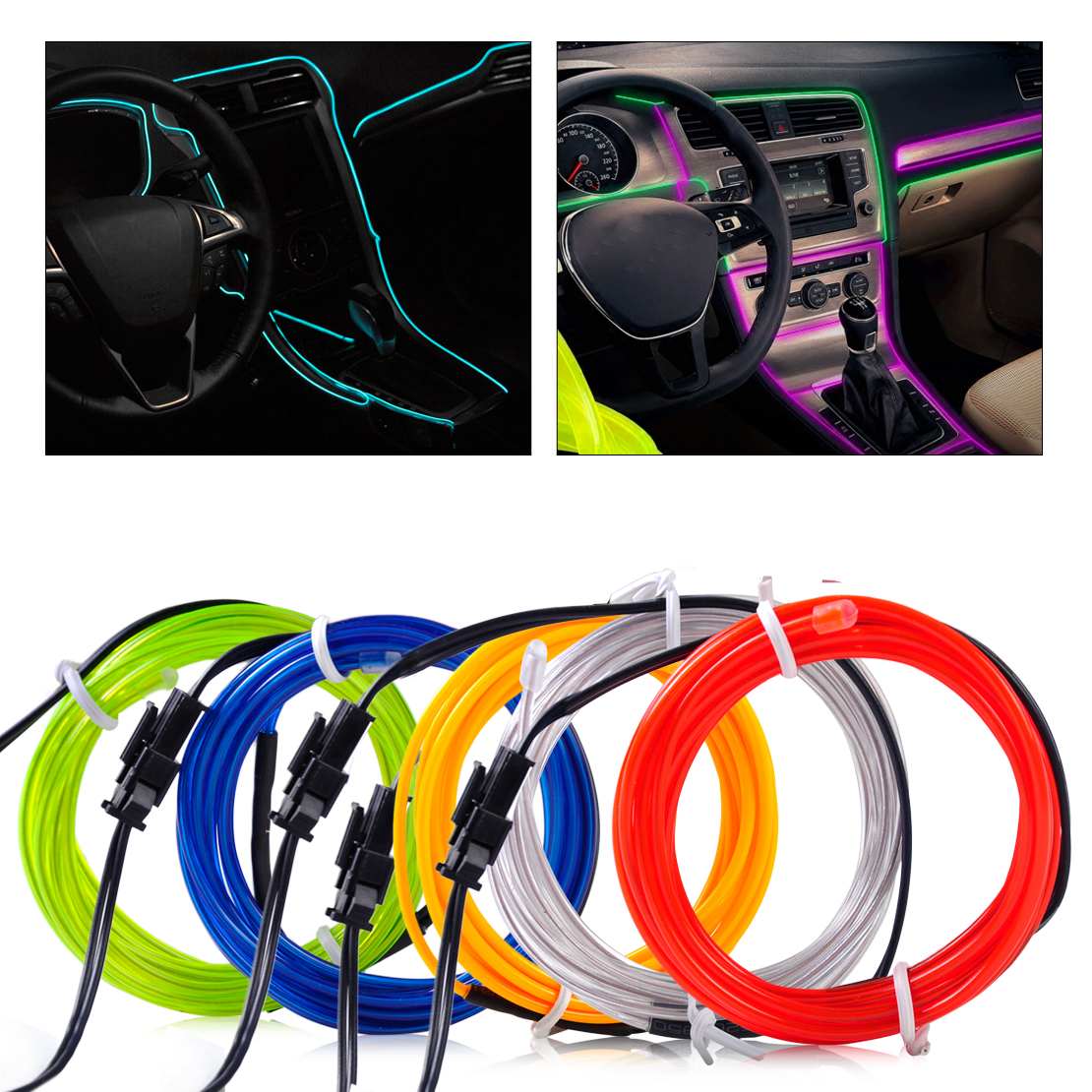 1x New 3mm 2m El Wire Flexible Stylings Car Interior Decor Fluorescent Neon Light Strip Cold