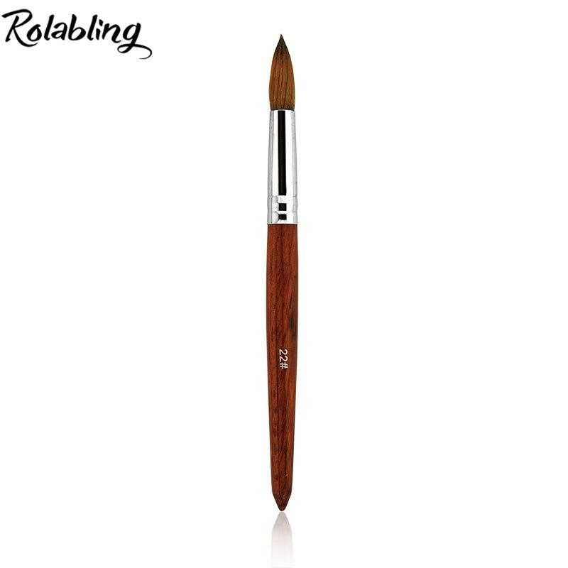 WHOLESALE 5PCS/SET 100% Kolinsky Sable Size 22# Pen Red wood Acrylic Brush for Nail Art Brush