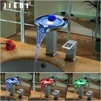 Chrome Soild Латунь светодиодный Ванная комната бассейна светодиодный кран воды Мощность смеситель Chrome Водопад кран Цвета Изменить Светодиодны