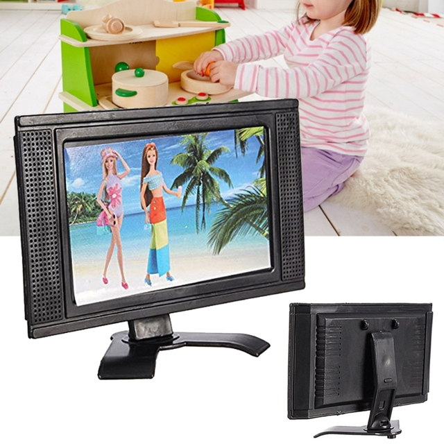 New LCD TV Doll Toy Structures Accessories For Barbie Doll House Furniture