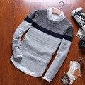 Alta Qualidade 2016 Nova Outono Inverno Listrado Pullover Marca de Moda Casual Sweater O Pescoço Slim Fit Malhas Dos Homens Plus Size 3XL