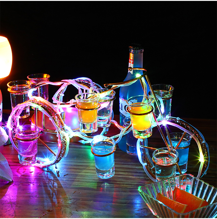 European style bicycle wine rack set rechargeable LED Luminous Beer wine bottle holder Glowing Champagne Cocktail rack
