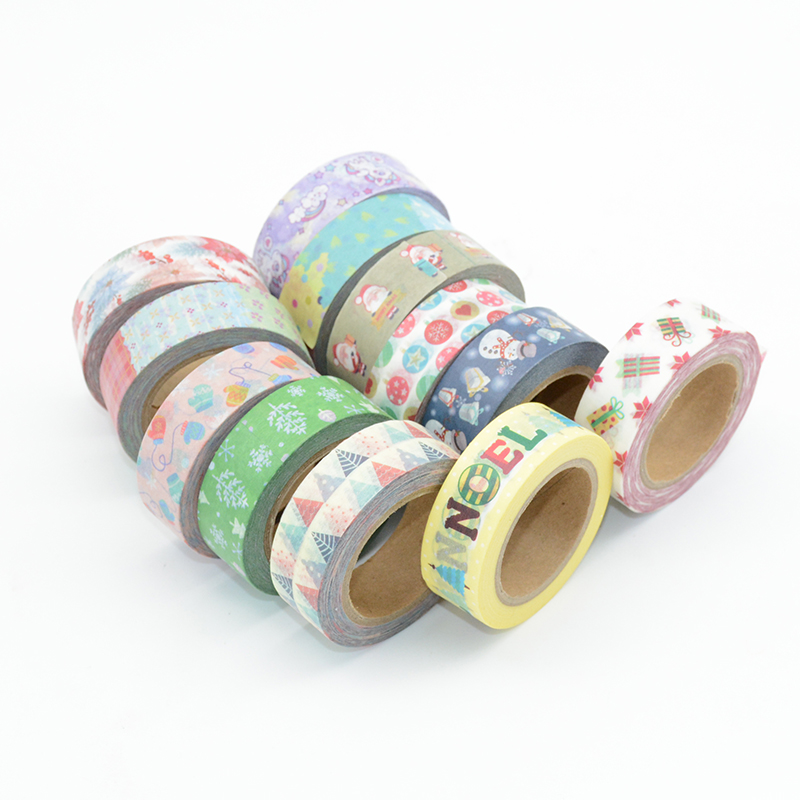 Washi Tape Christmas Set Adhesive Tapes Japanese Stationery Stickers Scrapbooking DIY Cartoon Bant Kawaii Duct Paper Festival