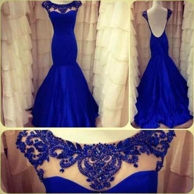 Vestido De Fiesta 2017 Mermaid Colher Mangas Azul Royal frisada As Costas Abertas Sexy Longo do Baile de finalistas Vestidos de Noite do Baile de finalistas dress