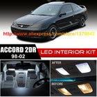 Free Shipping 12Pcs/Lot car-styling 12v Xenon White/Blue Package Kit LED Interior Lights For 98-02 Honda Accord 2dr