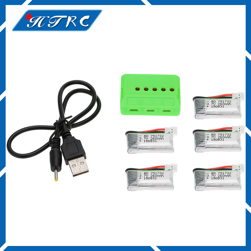 Li-po Battery 3.7V 260mAh 5pcs and X5 Charger for Eachine H8 JJRC H8 Mini RC Quadcopter drone part wholesale