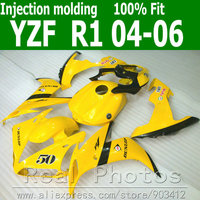 100% Injection molding fairing body kit for YAMAHA R1 2004 2005 2006 yellow black fairings set 04 05 06 YZF R1 AS14
